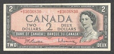 1954 *B/B $2.00 VF ** Scarce ASTERISK REPLACEMENT NOTE QEII Canada Two Dollars