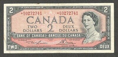 1954 *K/G $2.00 BC-38dA F-VF * SCARCE QEII Two Dollars ASTERISK REPLACEMENT Note