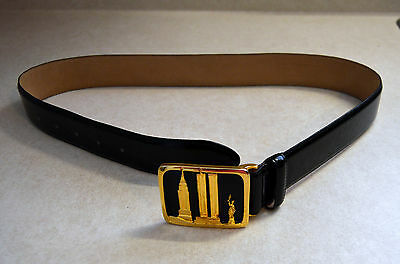 Doncaster Leather Belt Buckle Has Nyc Twin Towers Empire State Statue Of Liberty