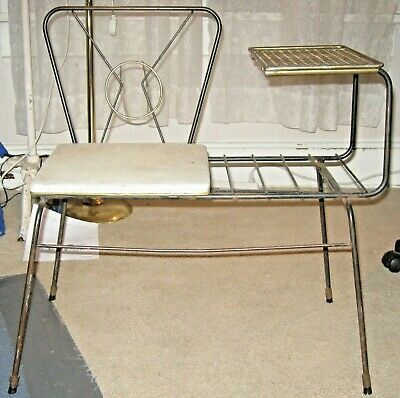 Vintage Mid Century Modern Atomic Space Age Wrought Iron Telephone Bench Seat