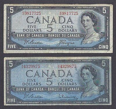 1954 $5.00 BC-39a 39b RARE 2 Color Bleed Tint ERROR Bank of Canada Five Dollars