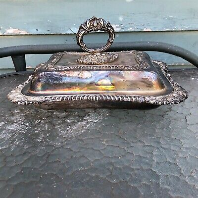 Vintage Silverplate covered dish ornate scroll shell removable handle tarnished