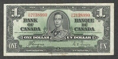 1937 $1.00 BC-21d VF Nice King George VI COYNE-Towers Bank of Canada One Dollar