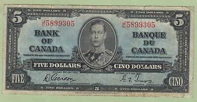 1937 Bank of Canada 5 Dollar Note - Gordon/Towers - J/C5899305 - Fine