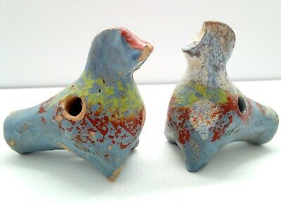 Clay Whistle Duck & Rooster / Set 2pc. / Ocarina / Work!  1800AD. Russian empire