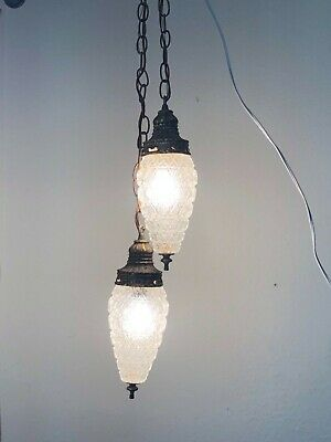 Vintage Art Deco Regency type Hanging Light 2 Globes FREE SHIPPING