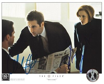 DAVID DUCHOVNY & GILLIAN ANDERSON signed THE X-FILES / FAN CLUB photo IN-PERSON!