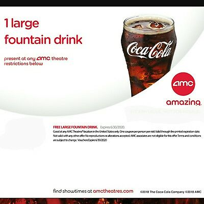 INSTANT DELIVERY. AMC FREE 1 LARGE Popcorn and 1 LARGE Drink - exp 6/30/20