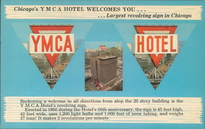Chicago, Il Postcard YMCA Hotel Chicago's Largest Revolving Sign 826 S Wabash