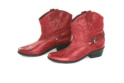 db10f24d5f2 FRANCO SARTO WOMENS 7.5 Red Leather Ankle Boots Waco Cowboy Western Slip On