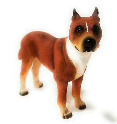 New World of Dogs Collection Large Resin Figurine American pitbull terrier #5027