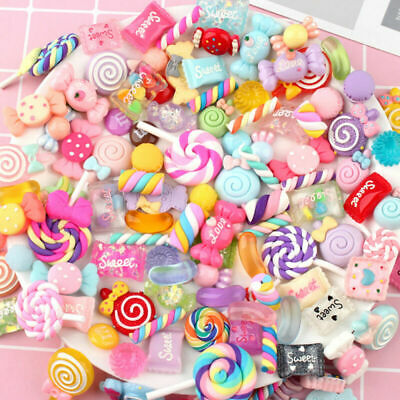 100Pcs Assorted Charm Slime Sweets Beads Mixed Candy DIY Craft Accessories AU
