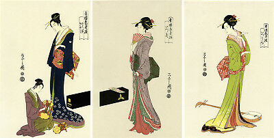 "Lovely EISHI Japanese woodblock triptych: ""SELECTED GEISHA OF THE YOSHIWARA"""