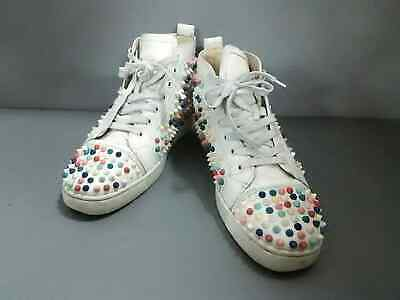 58e8ce0c2fd6 Auth CHRISTIAN LOUBOUTIN Louis Spike 1140098 White Multi Leather Mens  Sneakers