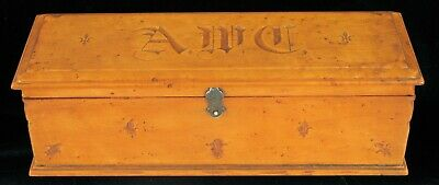 19Th Century French Burl Wood Jewelry Glove Box Carved Fluer De Lis Sterling !!