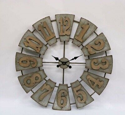 XL Windmill Clock Industrial Vintage Metal Wooden Round Wall Hanging 99X99CM