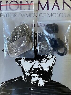 (1) RARE ST FR DAMIEN MOLOKAI HANG TAG w/CHAIN~ HAWAII EXCLUSIVE! LEPER PRIEST