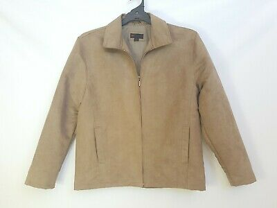 'Jonathan Adams' Size XL Men's Tan Faux Suede Zippered Collared Jacket