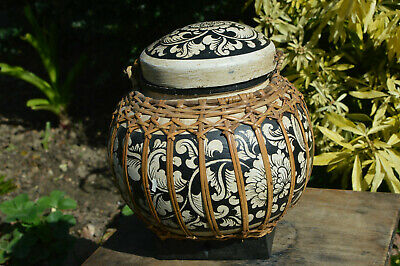Vintage Oriental Wicker & Plastered Hand Decorated Pot with Lid Rice Storage