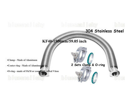 US KF40 78.74'' Flange Vacuum Bellow Hose SS304 With 2 Sets Clamper & FKM O-ring