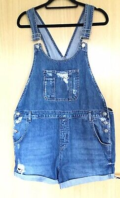 Topshop Maternity Dungaree Shorts 14 Denim Casual Playsuit Summer Moto Festival