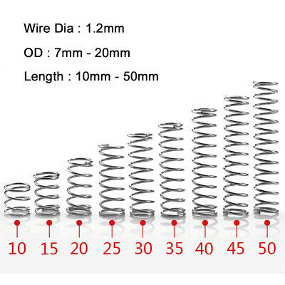 10Pcs 304 Stainless Steel spring Wire Dia 1.2mm Compression spring OD 7mm-20mm