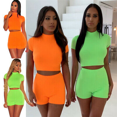 3c9986e4b42 Women Summer 2Piece Set Crop Top and Shorts Bodycon Outfit Short Sport  Jumpsuit.