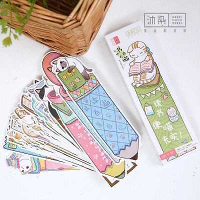30PCS Cute Funny Cat Shaped Paper Bookmark Kids Gift Stationery Film Book