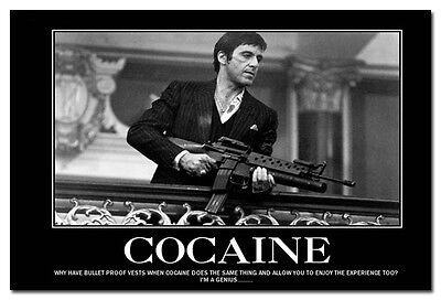 COCAINE - Scarface Movie Motivational Quotes Art Silk Poster 13x20 24x36""