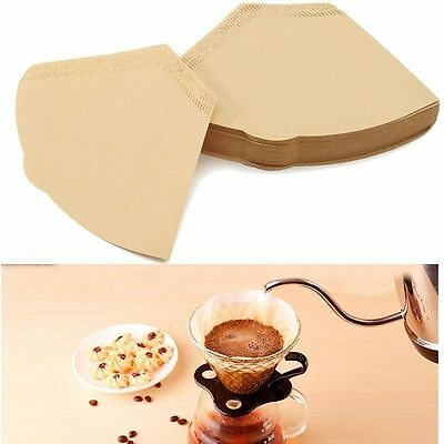 100Pcs/lot Replacement Coffee Paper Filter Cones Count Natural Brown Unbleached