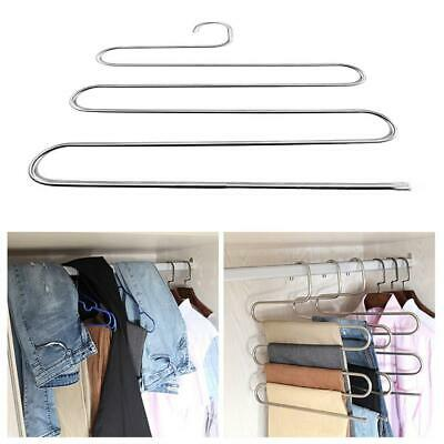 S-style Pants Hanger Multi-layer Stainless-Steel Rack Space Saver For Tie Scarf.