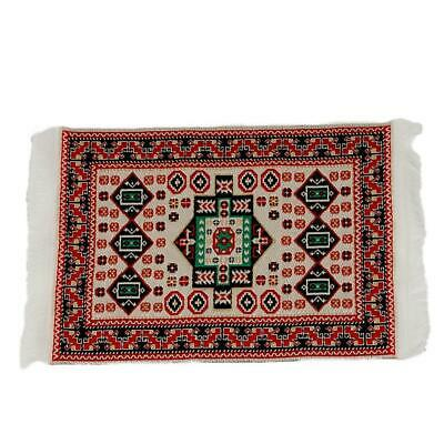 1/12Doll House Miniature Red Pattern Woven Floor Rug Carpet Coverings 17cm*10cm.