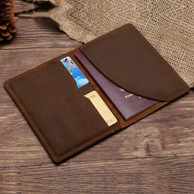 CLASSIC LEATHER PASSPORT HOLDER WALLET CASE COVER TICKET TRAVEL BROWN BAG New Y