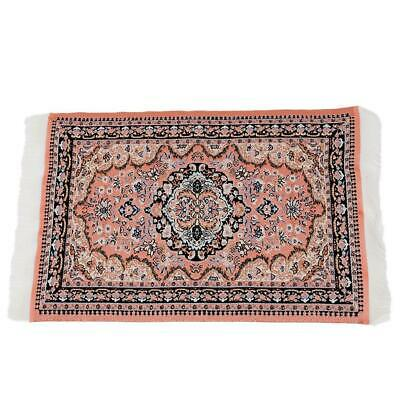 1/12 Doll House Red Pattern Woven Rug Floor Carpet Coverings Miniature 25*15cm