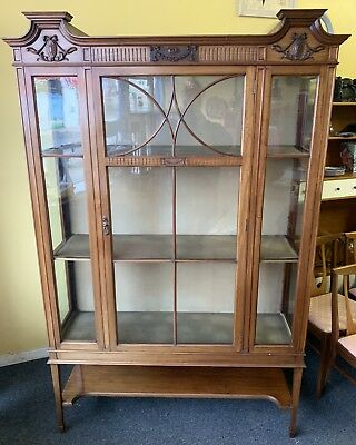 Large Antique Edwardian Walnut Glass Display Cabinet. Delivery Available