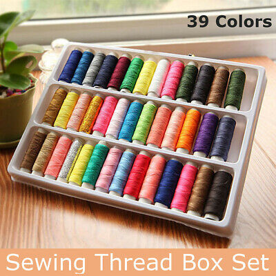 39 Roll Sewing Cotton Thread Box Kit Set For DIY Sewing/Embroidery Machine Home