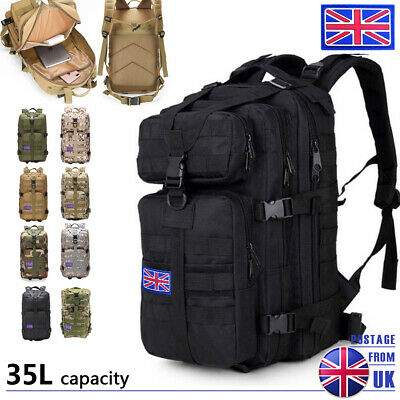 Military Tactical Army Backpack Rucksack Camping Hiking Trekking Outdoor Bag 35L