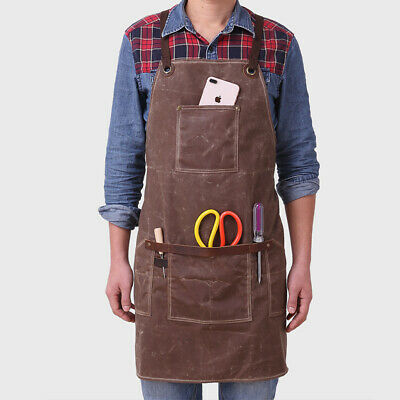 Unisex Heavy Duty Waxed Canvas Apron Waterproof Work Tool Aprons with Pockets