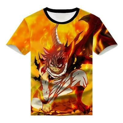 Japan Anime Fairy Tail Natsu 3D Printed Full Color Short Sleeve T-Shirts Tee