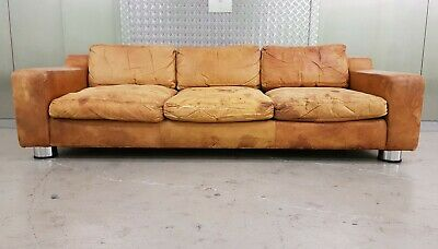 VINTAGE TAN BROWN LEATHER & CHROME SOFA RETRO MID CENTURY 50s 60s 70s DANISH ERA