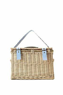 Joules Wicker Picnic Basket with Fabric Lining for Four People - White Floral