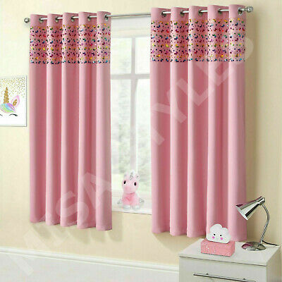 Childrens Thermal Blackout Unicorn Sparkle Shimmer Eyelet Ring Top Curtains Pair
