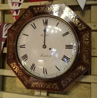 Antique wall clock with fusee movement, Retailed by King of London, brass inlay