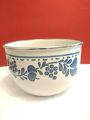 Vintage Enamel White Blue Floral Mixing Bowl Folk Art 4-Qt. Gailstyn Sutton