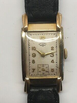 Vintage Rotary Rolled Gold Tank 1940s Art Deco Swiss 15 Jewels Wrist Watch Works