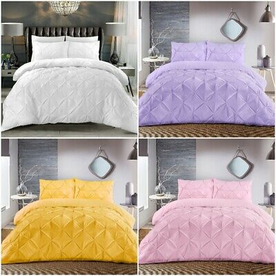 Pinch Pleats Pintuck Duvet Cover Bedding Set Double King Size Quilt Cover Set