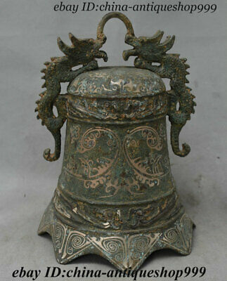 Antique Chinese Bronze Ware Silver Double Dragon Statue Ancient text Bell Zhong