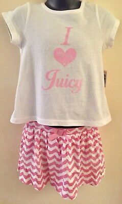 Juicy Couture Girls 2 Piece Set top + Pink Skirt Aged 18 Months 2 Years BNWT 💕