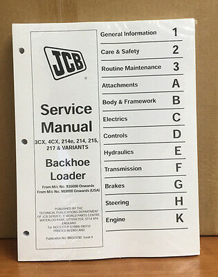 Jcb 3cx 4cx 214e 214 215 217 Dieselmax Service Manual Workshop Manual Cd Heavy Equipment, Parts & Attachments
