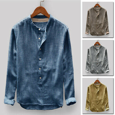 Mens Vintage Tribe Shirt Stand Collar Button Long Sleeve T-Shirt Tops Plus Size